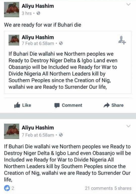 """""""If Buhari Dies, Northerners Are Ready To Start Killing Igbos & Divide Nigeria"""" – Hausa Man Threatens"""