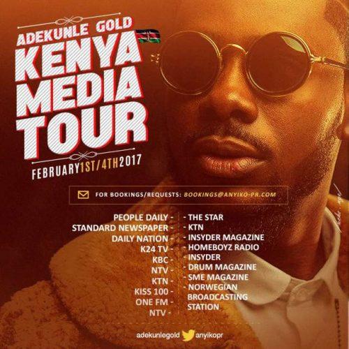 Adekunle Gold Begins Media Tour Of East African Hub, Kenya