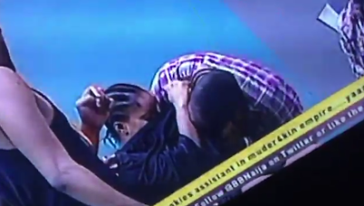 #BBNaija: Scenes As Bally Boldly Sucks Ese's Boobs During Truth n Dare Session [Video]