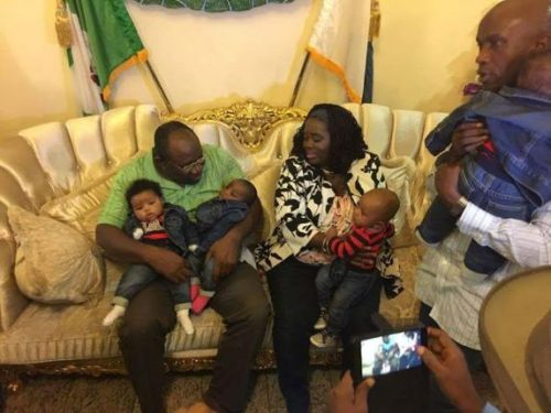 Bayelsa First Lady Returns To Nigeria With Kids Months After Giving Birth To Quadruplets [Photos]