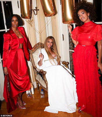 Beyonce Queens It In Plunging White Dress  At Grammy VIP After Party With Solange, Jay Z and Family