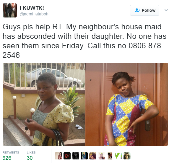 House Help Kidnaps and Run Away With Boss' Daughter