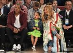 Heavily Pregnant Beyonce, Jay Z and Blue Ivy Pictured At NBA All Star Game [Photos]