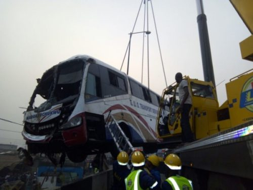 TRAGIC! Three Lives Lost As Luxurious Bus Plunges Into Lagos River
