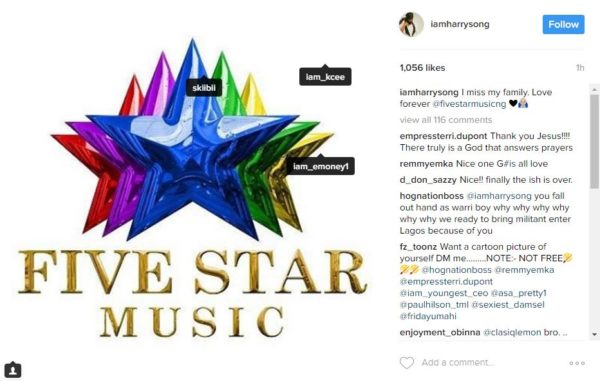 """'I Miss My Family"""" – Embattled Harrysong Returns To Five Star Music Following Recent Dramatic Fallout"""