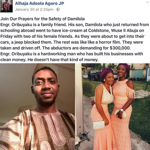 Prayersup: Abductors Of Three Kidnapped Friends In Abuja Demand $300,000