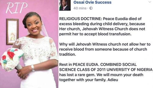 Nigerian Jehovah Witness Allegedly Dies Of Excess Bleeding During Child Birth Because Church Doesn't Permit Blood Transfusion