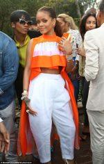 Rihanna Stuns In Orange Crop Top At The Rock Nation PreGrammy Brunch