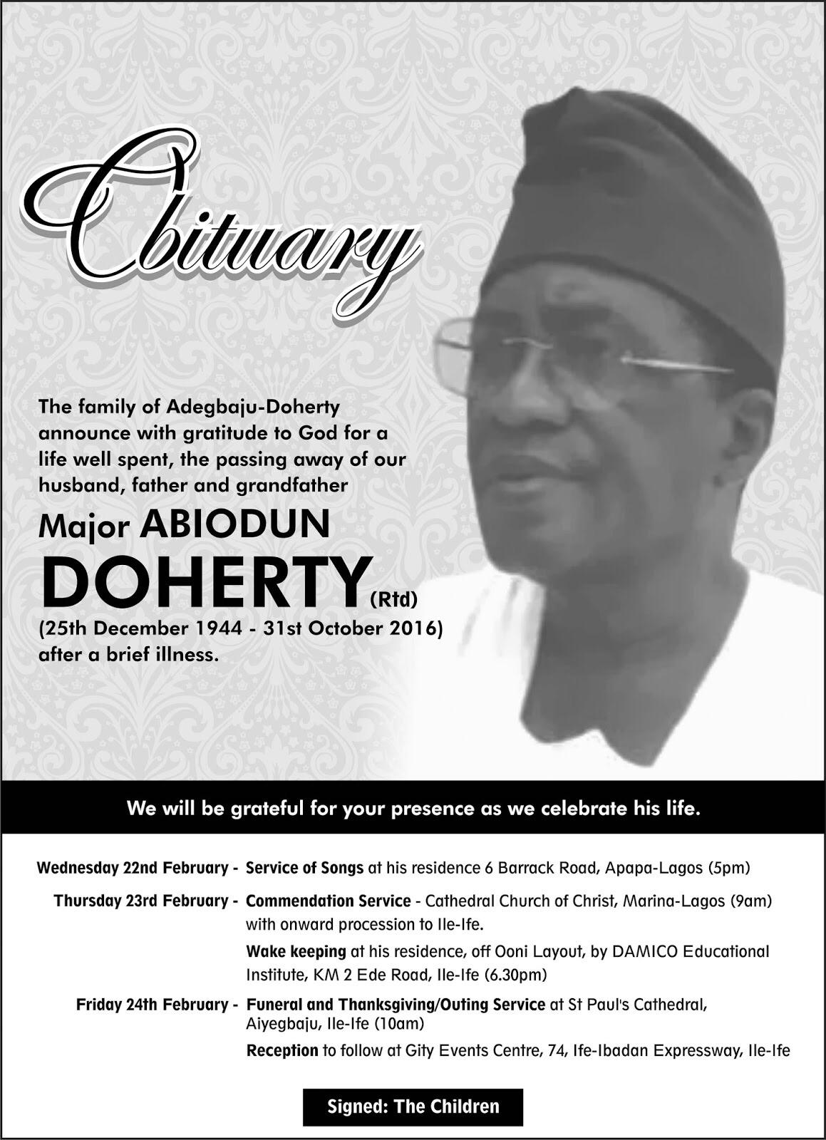 OBITUARY: Major Abiodun Doherty (Rtd)
