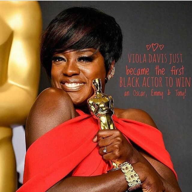 Viola Davis Makes History As First Black Woman To Win An Oscar, Emmy And Tony (Watch Her Speech)