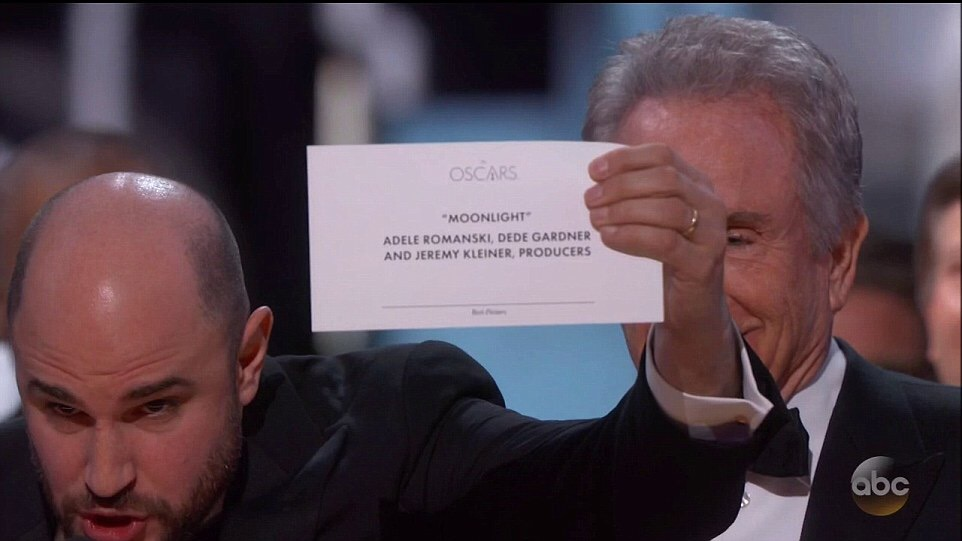 Is This The Worst Fail In Oscar History? Watch Incredible Moment 'Moonlight' Was Announced As Best Picture After Presenter Warren Beatty Mistakenly Announced 'La La Land'