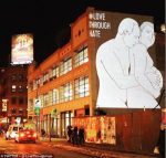 BOLD! Hilarious Image Of Putin Caressing A Pregnant Trump  Projected On New York Building