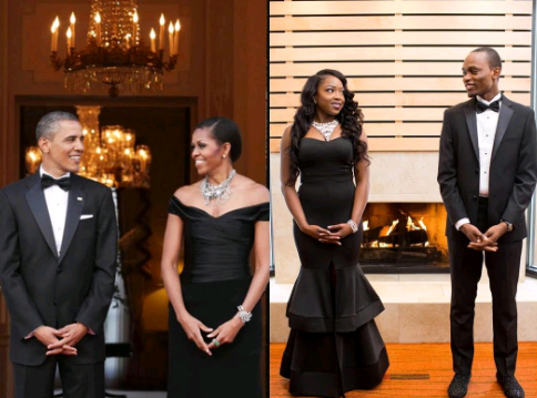 Lovely Nigerian Couple Goes Viral After Recreating Iconic 'Michelle & Barack Obama' Romantic Poses