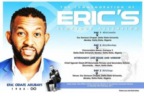 Family Of Deceased Singer, Eric Arubayi Release Burial Date & Arrangement