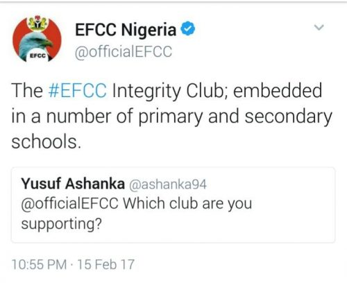 EFCC Twitter Handle Is At It again With Shot at Chelsea