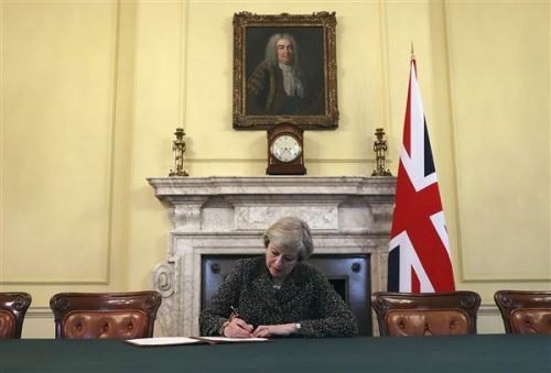 British PM, Theresa May Signs Letter Triggering 'Brexit' Process