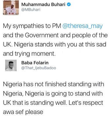 This Twitter User's Reply To Buhari's Condolence Message On London Attack Is EPIC!