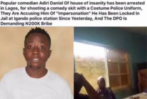 VIDEO: Lagos Police Demands 200k From Comedian For Performing In Police Uniform