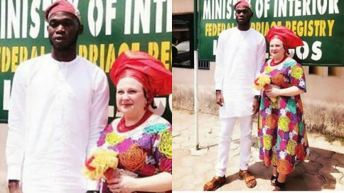 See Photo Of Young Nigerian Man Who Married Older White Lady In Lagos