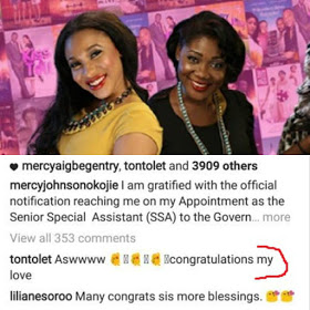 Tonto Dikeh Congratulates Mercy Johnson On Political Appointment