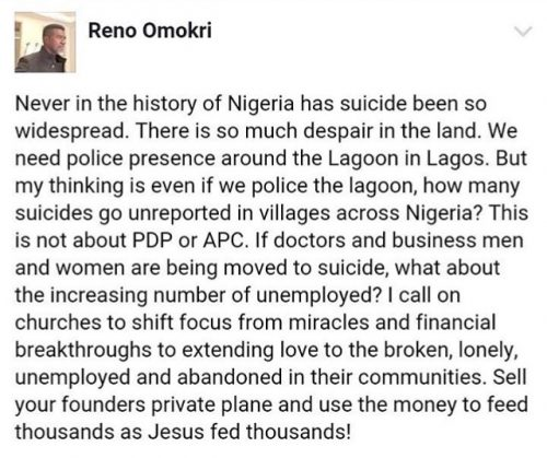 Reno Omokri Calls On Churches To Intervene In Increase Of Suicidal Attempts In Lagos
