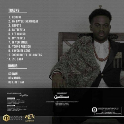 """""""Belloved"""" : Korede Bello Reveals Tracklist For Smashing Debut Album That's Set To Drop Today"""