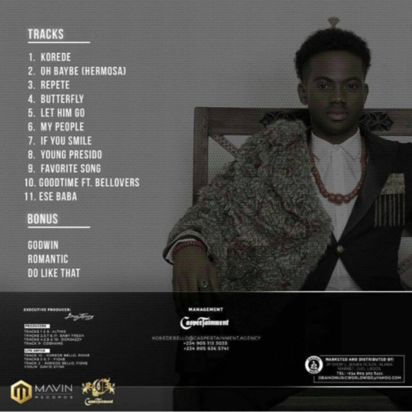 """Belloved"" : Korede Bello Reveals Tracklist For Smashing Debut Album That's Set To Drop Today"