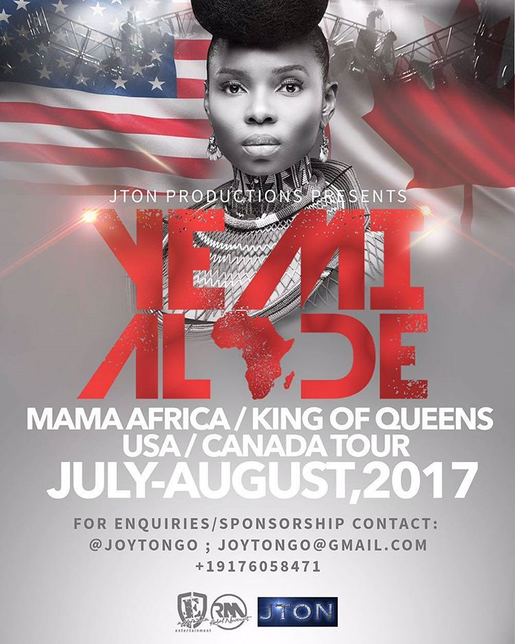Yemi Alade To Go On Music Tour Of Canada and USA