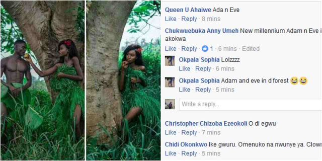 Nigerians react as couple recreate 39 adam and eve 39 nude for Adam and eve salon katy tx