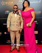 Photo: Actor Ime Bishop Umoh Aka Okon And His Beautiful Wife At The AMVCA 2017