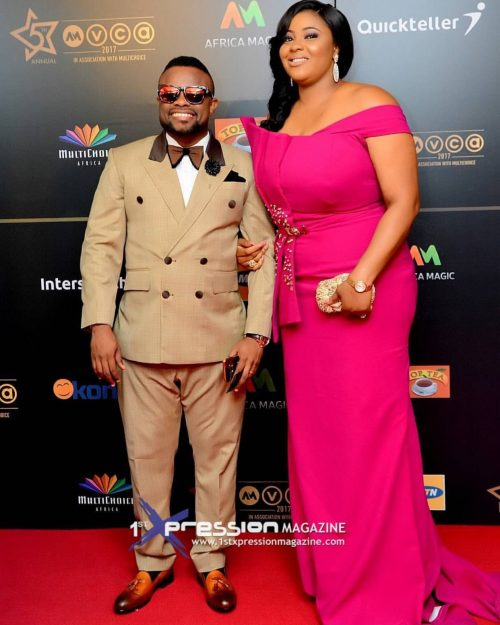 Photo: Actor Ime Bishop Umoh Aka Okon And His Beautiful Wife At The AMVCA 2017