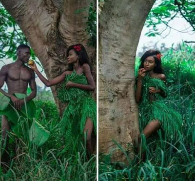Nigerians react as couple recreate 39 adam and eve 39 nude for Adam and eve salon katy tx