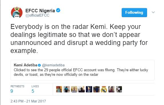 Hilarious Convo Between Movie Director, Kemi Adetiba and Witty EFCC Twitter Handle