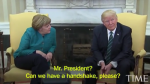 Trump Refuses TO Shake German Chancellor, Angela Merkel During Visit To White House