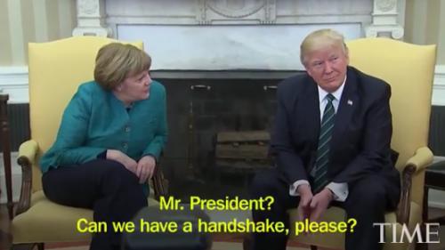 Trump Refuses TO Shake German Chancellor, Angela Merkel During Visit To White House