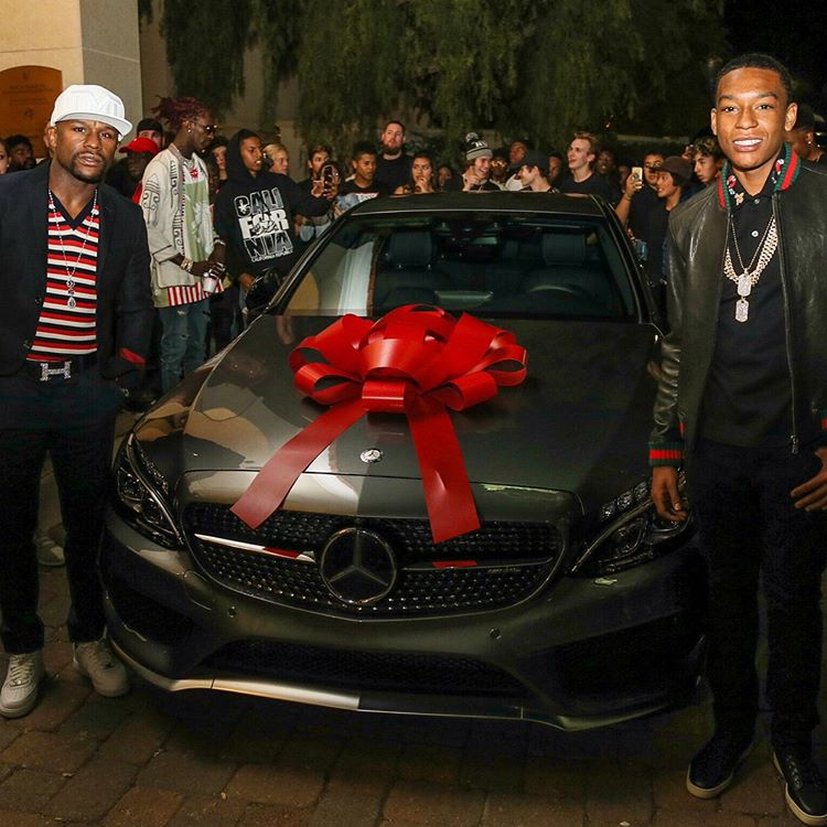 Floyd Mayweather Gifts a £31,000 Mercedes C-Class Coupe To Son On 16th Birthday – PHOTOS
