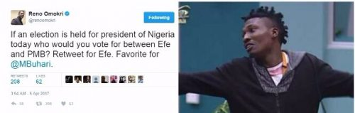 #BBNaija: We Would Vote Efe Over President Buhari- Nigerians On Twitter Declare