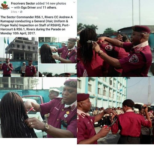 Rivers State's FRSC Commander Cuts Hair Of Female  Staff With Scissors (photos)