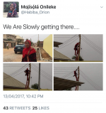 Viral Photos Of Nigerian Female Electrician Pictured Climbing  Pole In Her Ijab