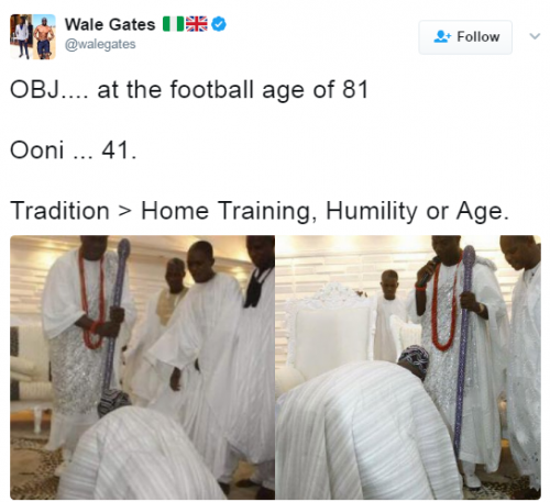 Photos Of Obasanjo Prostrating For The Ooni Of Ife Surfaces Again Following Oba Of Lagos Snub