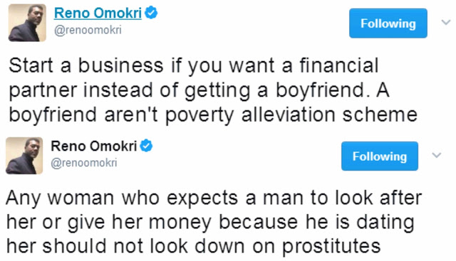 Start a Business, Boyfriends Aren't Poverty Alleviation Schemes – Reno Omokri