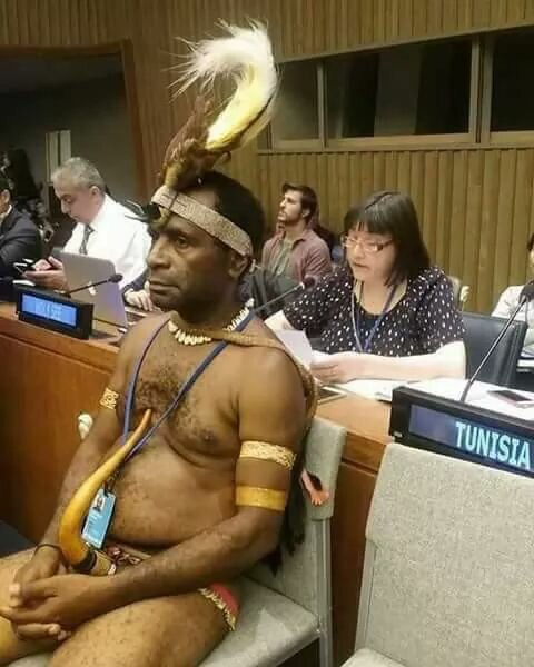 West Papua(New Guinea) Delegate Storms UN Headquarters In New York For Conference In His Traditional Attire
