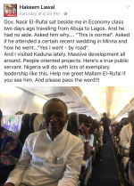 Kaduna State Governor El-Rufai Pictured Flying Economy Without Aides