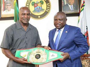 Photos: Heavyweight Boxer, Evander Holyfield Visits Ambode, Pledges $3 Million Health Facilities To Lagos( Set To Fight Tinubu )