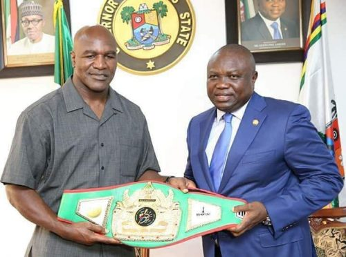 Photos: Heavyweight Boxer, Evander Holyfield Visits Ambode, Pledges $3 Million Health  Facilities To Lagos( Set To Fight Tinubu )