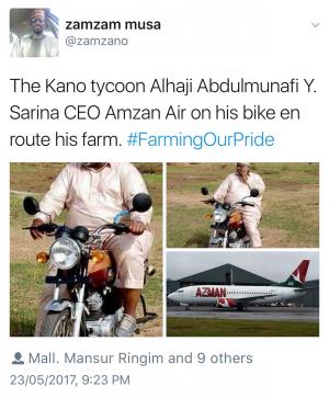Photos: Nigerian Billionaire And Owner Of Azman Air, Alhaji Sarina, Seen Riding A Motorcycle To His Farm
