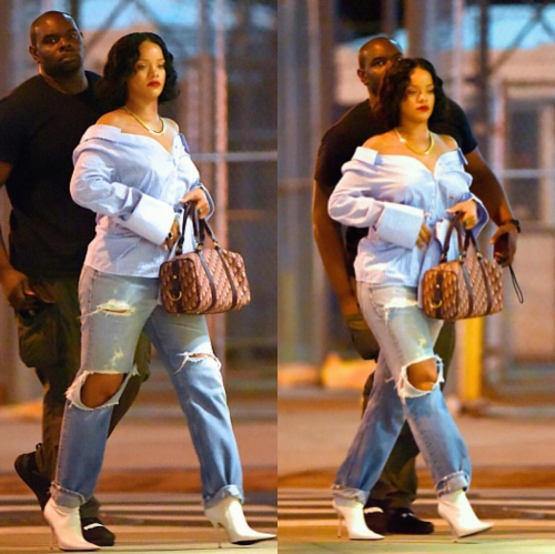 She's Added Some Flesh! Rihanna Rocks Off Shoulder Shirt, Ripped Jeans For Night Out