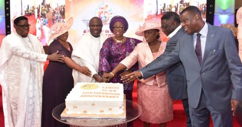 Photo Story: Gov Ambode, Wife, Pastor Adeboye And  Other Dignitaries At #LAGOS@50 Thanksgiving Service (See Photos)