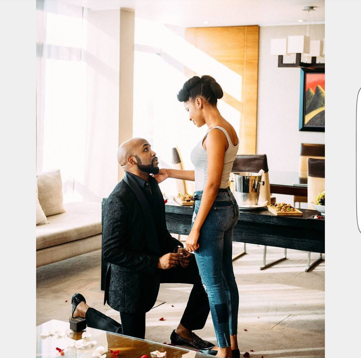 Breaking! Wedding Party Stars AdesuaEtomi And BankyW Are Engaged In Real Life!