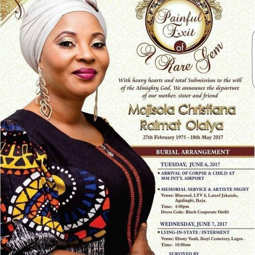 Obituary Of Actress Moji Olaiya's Obituary